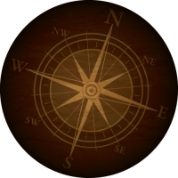 Perfect for the traveller. A rustic compass on your spare tyre cover.