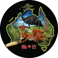 Aussie Mates playing cricket printed in high quality on your spare wheel cover