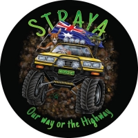 Straya 4x4 illustration on your 4wd spare tyre cover.