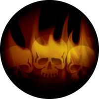 Flaming Skulls in full colour on your spare tyre cover.