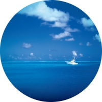 Peaceful photo of beautiful blue ocean with boat. Quality spare tyre covers.