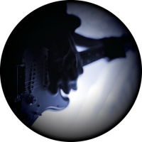 Spare tyre cover design for the musician or guitarist. Cool image of musician playing a Fender Stratocaster.
