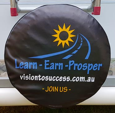 Spare tyre cover showing full colour design for business advertising