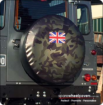 Camo design with UK flag in centre - Spare tyre cover design