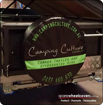 Camper spare wheel cover advertising Camping Culture business.