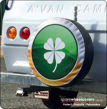 Custom designed caravan spare tyre cover showing Irish clover.