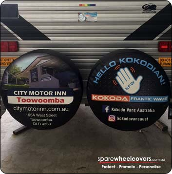 Custom dual spare tyre covers advertising business.
