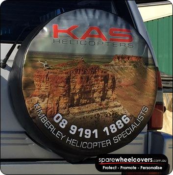 KAS Spare Wheel Cover showing business advertising.