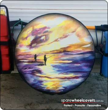 Custom printed spare tyre cover with painting of beach scene.