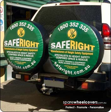 Dual wheel covers advertising Saferight business.