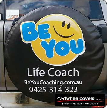 Custom spare tyre cover for BE YOU life coaching