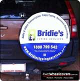 Spare wheel cover for Bridies Typing Service.