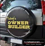 Owner Builder business advertising on a spare wheel cover.