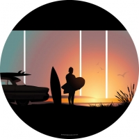 Endless Summer Surfing Wheel Cover
