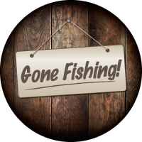 Gone Fishing Sign Custom Wheel Cover