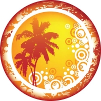 Spare wheel cover with peaceful golden palm fantasy sunset