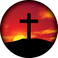 Cross pictured on a beautiful Sunset. Full colour spare tyre cover print.