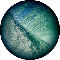 Photo of the inside of a wave, a colourful design for your spare tyre cover.