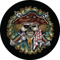 Pirate Skull with Swords on your spare wheel covers.