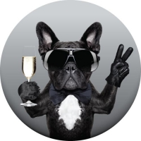 Tyre cover with cool dog design holding glass of wine