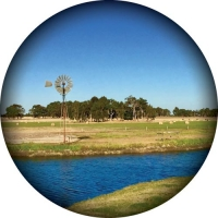 Spare tyre cover with scenic photo of a farm windmill with cattle and hay bales in the distance