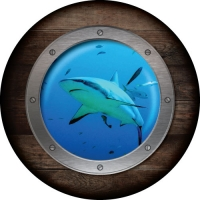 Shark Porthole - Spare wheel cover with a cool porthole design and shark swimming by.
