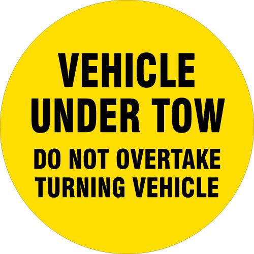 Vehicle Under Tow - Do Not Overtake Turning Vehicle