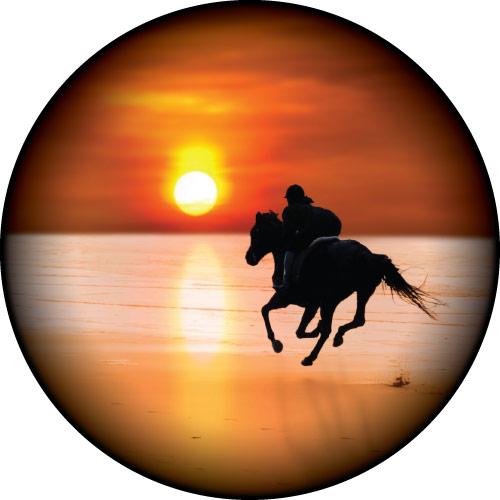 Horse riding on a Sunset Beach Custom Tyre Cover Design