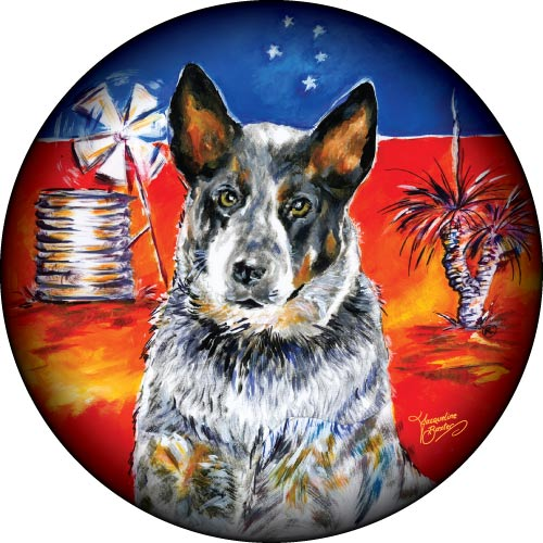 Blue Heeler Australian cattle dog on your spare tyre cover