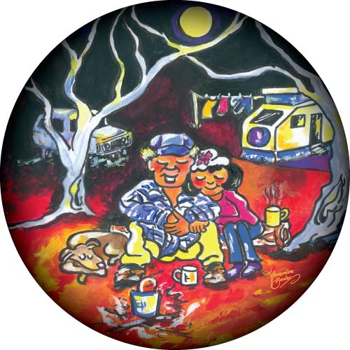 Couple Camping in the Australian bush custom spare wheel cover design