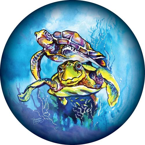 Turtles swimming in the ocean painted on spare wheel cover design