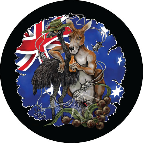 Aussie Mates - Illustration of Kangaroo and Emu in and Australian theme, printed on your spare tyre covers