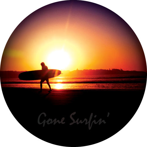 Surfer at beach sunset with Gone Surfin printed in high quality on your spare tyre cover.
