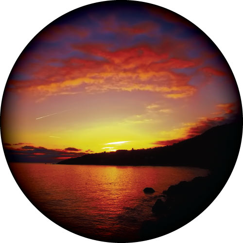 Beautiful sunset image of ocean and sky showing amazing colours in nature. Spare tyre cover design.