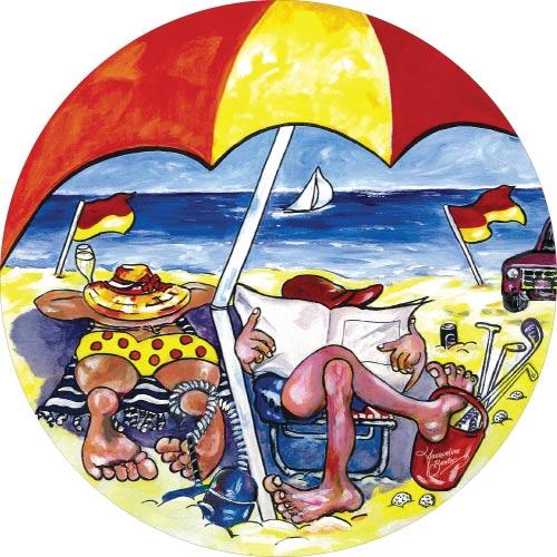 Beach Bums - A colourful beach scene on your spare wheel cover