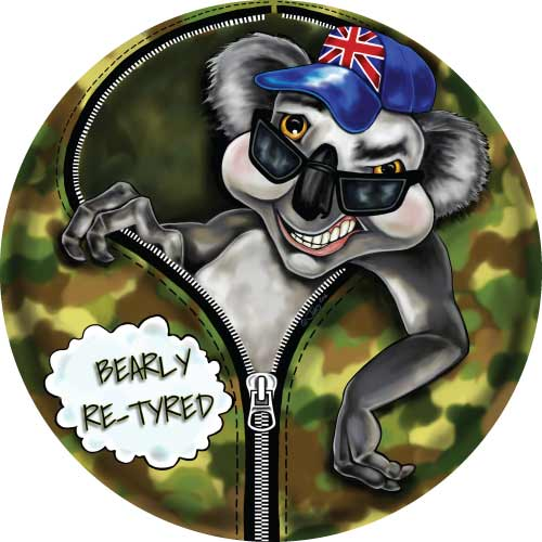 Bearly Re-Tyred - Funny Aussie design on your caravan spare wheel cover