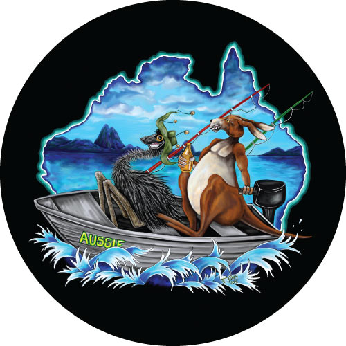 Fishing Aussie Mates Spare Tyre Cover Design
