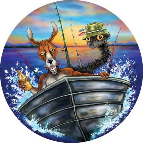 Spare Tyre Cover with Aussie Mates Fishing in Boat